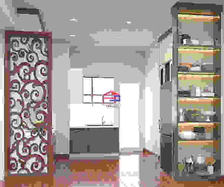 Hình ảnh thiết kế 3D tủ bếp melamine nhà chị Thoa - Tây Hồ: hiện đại  by Nội thất Hpro, Hiện đại