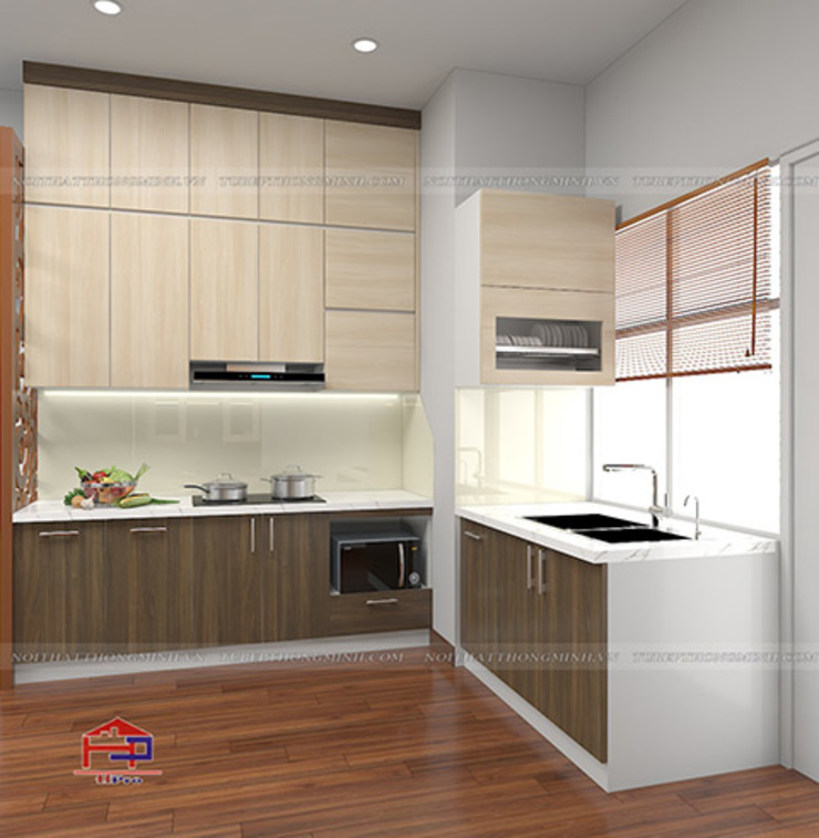 Hình ảnh thiết kế 3D tủ bếp melamine chữ L nhà chị Thoa - Tây Hồ: hiện đại  by Nội thất Hpro, Hiện đại