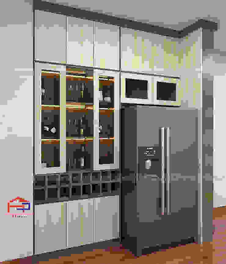 Hình ảnh thiết kế 3D tủ rượu melamine nhà chị Thoa - Tây Hồ: hiện đại  by Nội thất Hpro, Hiện đại