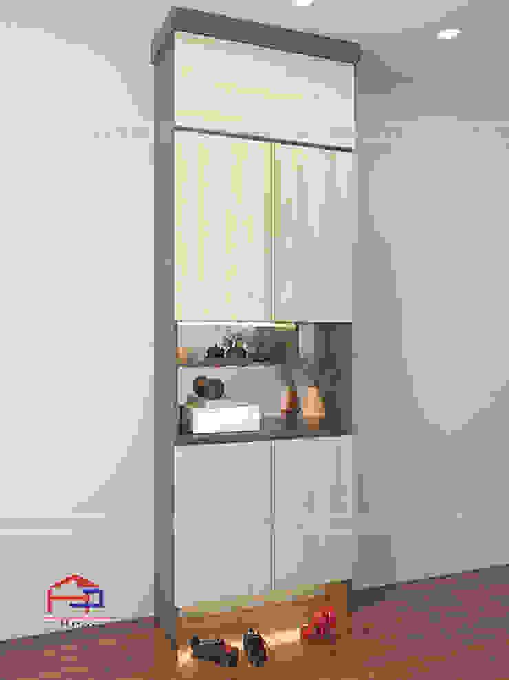 Hình ảnh thiết kế 3D tủ giày gỗ melamine nhà chị Thoa - Tây Hồ: hiện đại  by Nội thất Hpro, Hiện đại
