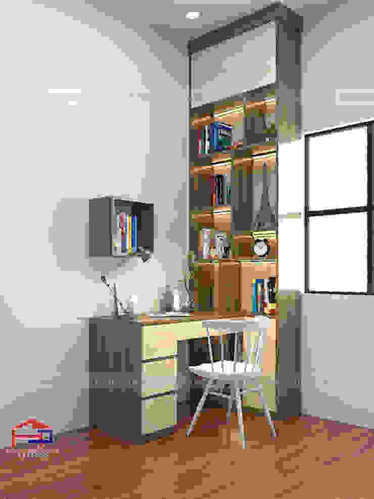 Hình ảnh thiết kế 3D bộ bàn học kèm giá sách gỗ melamine nhà chị Thoa - Tây Hồ: hiện đại  by Nội thất Hpro, Hiện đại