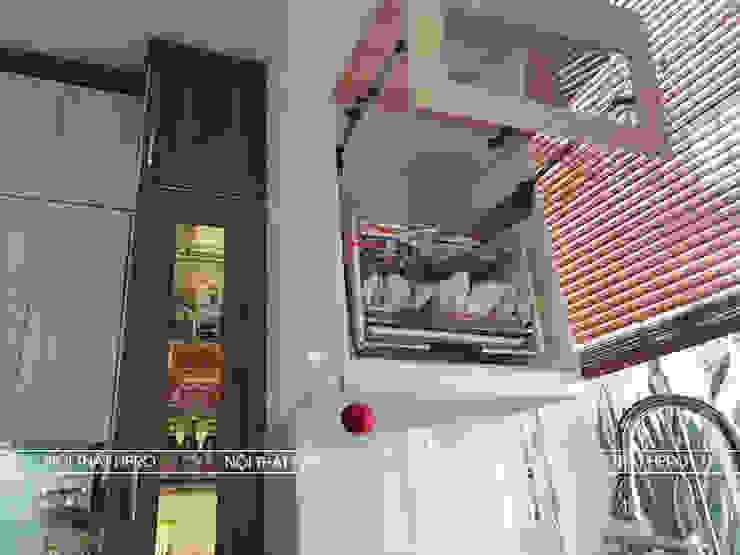 Hình ảnh thực tế bộ tủ bếp melaminne code MDF lõi xanh nhà chị Thoa - Tây Hồ: hiện đại  by Nội thất Hpro, Hiện đại