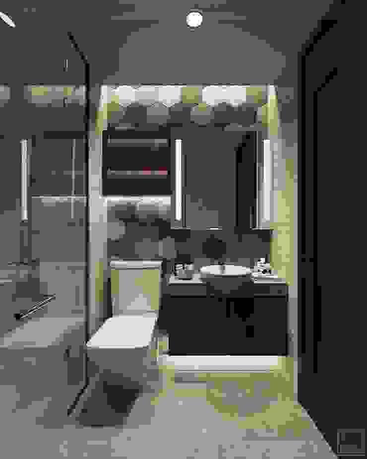 THIẾT KẾ PHONG CÁCH INDUSTRIAL MIX SUNRISE CITYVIEW Phòng tắm bởi ICON INTERIOR Công nghiệp