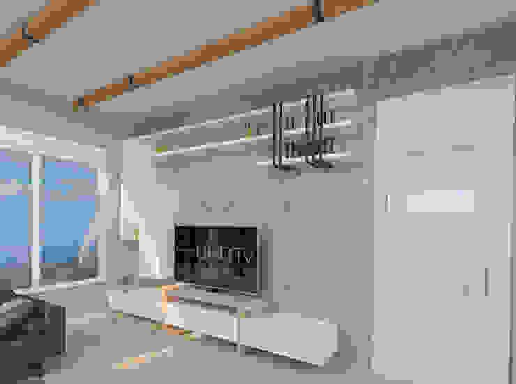 Tv ünitesi ASN İç Mimarlık Kırsal Oturma Odası Ahşap Beyaz