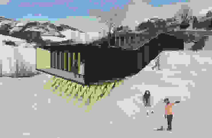 Refugio en la nieve Casas de estilo industrial de Logan Leyton Arquitectos Industrial Madera Acabado en madera
