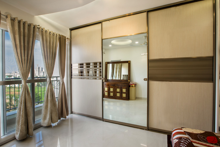 Mirror Sliding wardrobe HomeLane.com Small bedroom