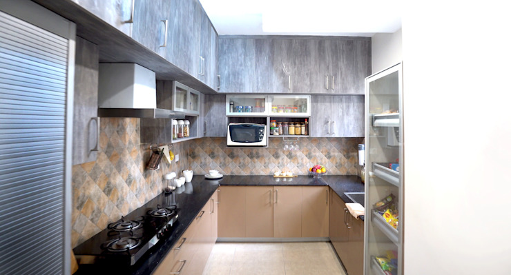 Modern Kitchen with multiple storage capacity by HomeLane.com Modern