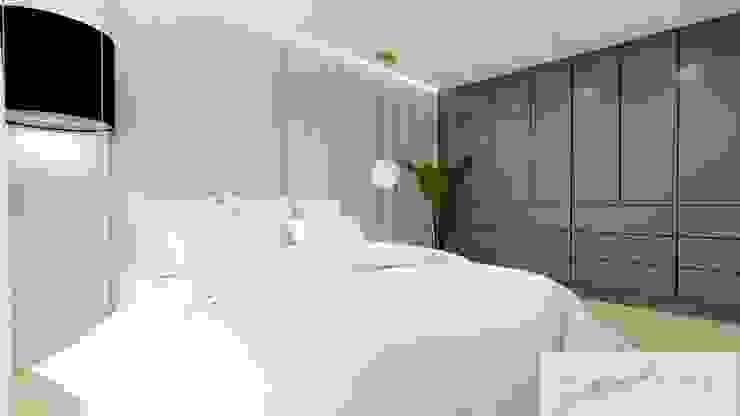 Kamar Tidur Modern Oleh Machowska Studio Projektowe Modern Perak/Emas