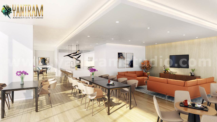 Popular attractive Interior clubhouse design ideas by 3d architectural design by Yantram Architectural Animation Design Studio Corporation Modern