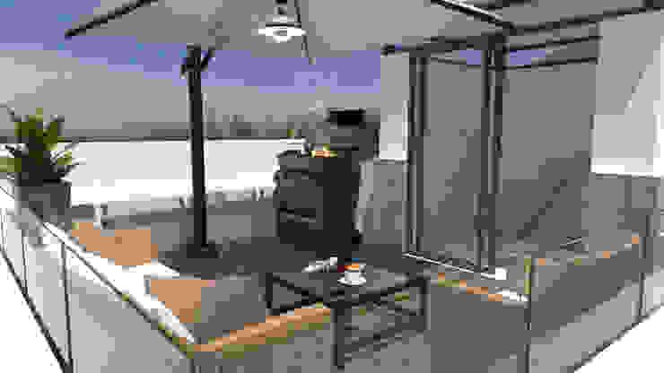 Casa Roncato 12146, San Marino, Tijuana B.C. Mexico URBAO Arquitectos Balcones y terrazas modernos Concreto Blanco