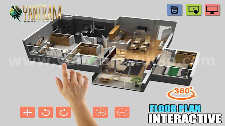 Interactive Classic 3D Virtual Floor plan Design Ideas by Virtual Reality Real Estate Companies de Yantram Architectural Design Studio Moderno
