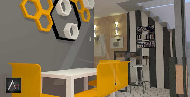 Mesa de refeição e bar Anny Maciel Interiores - Casa Cor de Riso Cozinhas modernas Derivados de madeira Cinza