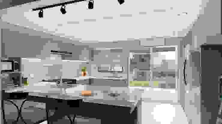 Proyecto Cocina de Arquitectura Azul Minimalista
