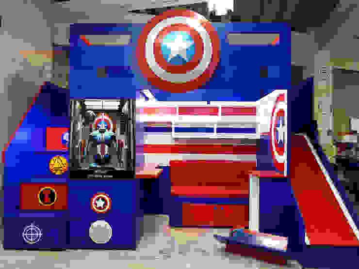Fantástica cama alta del capitán américa de camas y literas infantiles kids world Moderno Derivados de madera Transparente