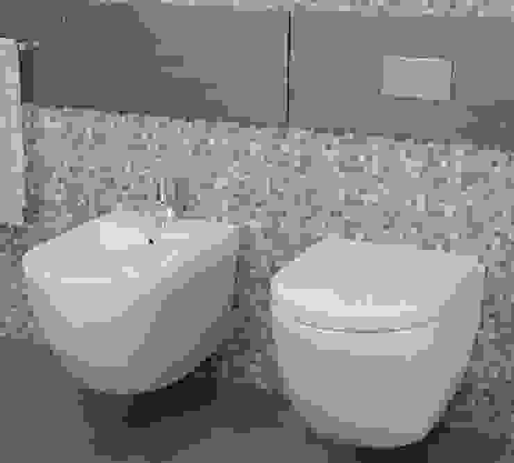 Coppia di Sanitari Sospesi Wc e Bidet In Ceramica 36x55x33 Cm Vorich Vortix Bianco: Bagno in stile  di GiordanoShop,