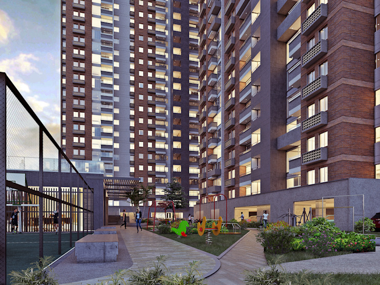 ACUARELA DEL PARQUE Balcones y terrazas de estilo moderno de Mir Estudio - Arquitectura y Visualización 3D Moderno