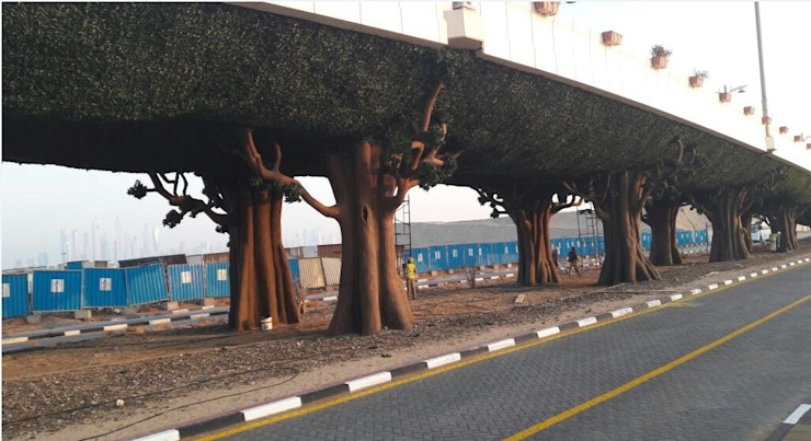Artificial Hedges for highway bridge greening Sunwing Industries Ltd Commercial Spaces Plastic Green