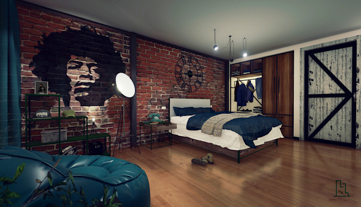 Industrial style bedroom by Minkarq. Arquitectura y construcción Industrial Wood Wood effect