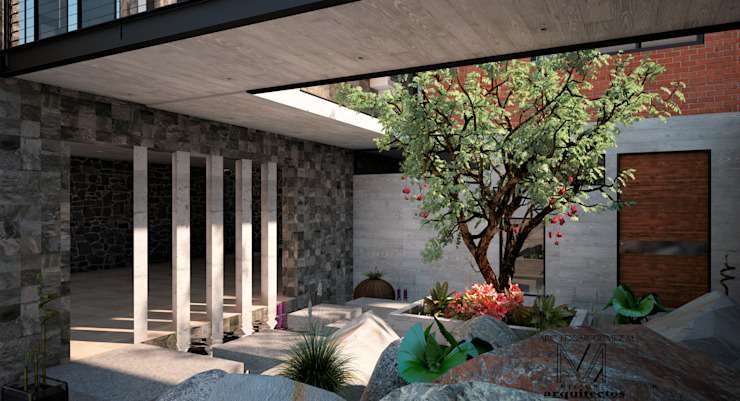 CASA 2 PUENTES Jardines modernos de Mixture Arquitectos Moderno