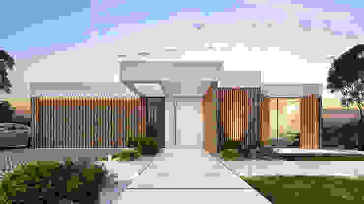 CASA PT1- Moradia no Belas Clube de Campo - Projeto de Arquitetura - exterior entrada por Traçado Regulador. Lda Moderno Betão