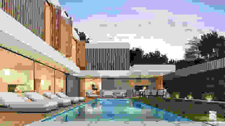 CASA PT1- Moradia no Belas Clube de Campo - Projeto de Arquitetura - exterior piscina por Traçado Regulador. Lda Moderno Betão