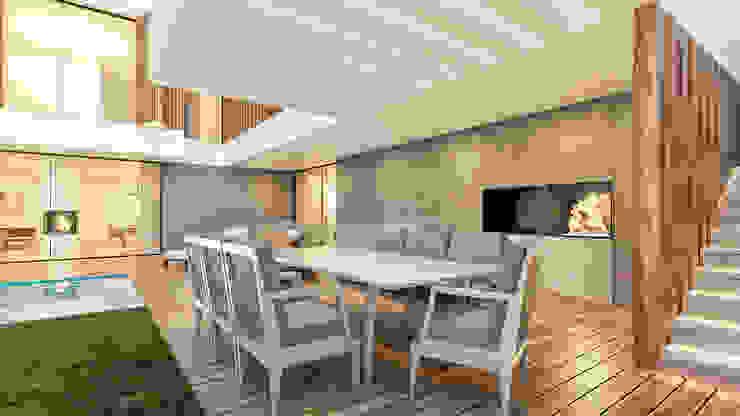 CASA PT1- Moradia no Belas Clube de Campo - Projeto de Arquitetura - exterior pergola por Traçado Regulador. Lda Moderno Betão