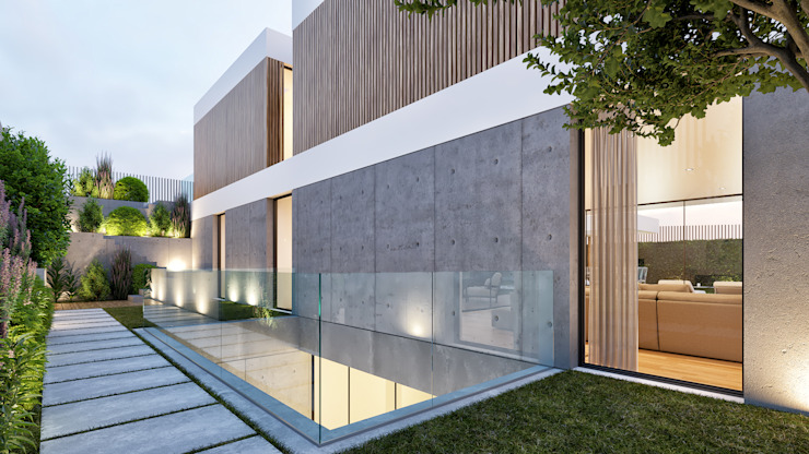 CASA PT1- Moradia no Belas Clube de Campo - Projeto de Arquitetura - exterior patio por Traçado Regulador. Lda Moderno Betão