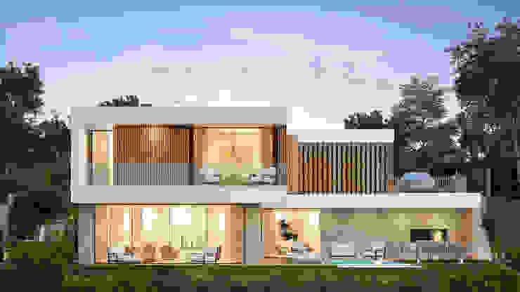 CASA PT1- Moradia no Belas Clube de Campo - Projeto de Arquitetura - exterior sul por Traçado Regulador. Lda Moderno Betão