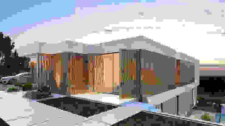 CASA PT1- Moradia no Belas Clube de Campo - Projeto de Arquitetura - entrada por Traçado Regulador. Lda Moderno Betão