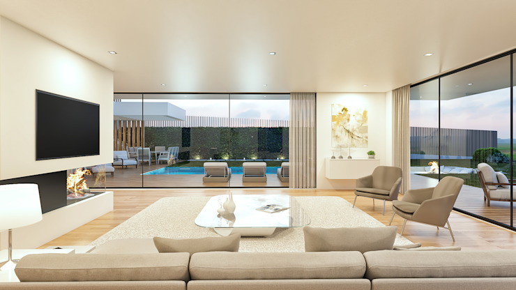 CASA PT1- Moradia no Belas Clube de Campo - Projeto de Arquitetura - sala Salas de estar modernas por Traçado Regulador. Lda Moderno Madeira Acabamento em madeira