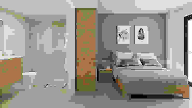 Dormitorio con baño: Dormitorios pequeños de estilo  de Ardis3d Proyectos y diseños SL, Moderno Cerámico