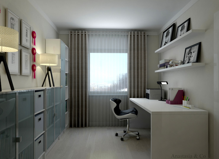 Arbeitsraum- Homeoffice Interior Design:  Arbeitszimmer von Anastasia Reicher Interior Design & Decoration in Wien,