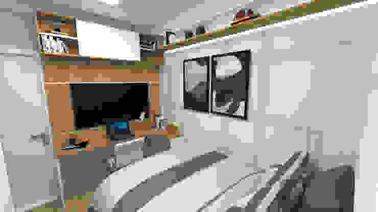 Reforma de Dormitório Masculino 9m2 -1: Quartos pequenos   por Fareed Arquitetos Associados,Moderno