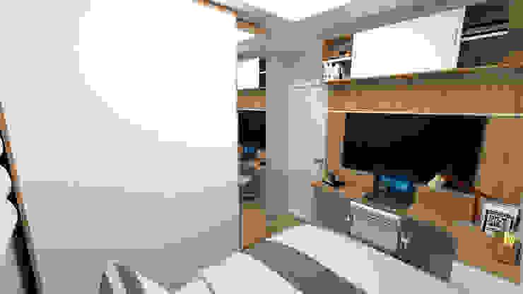 Reforma de Dormitório Masculino 9m2 -3: Quartos pequenos   por Fareed Arquitetos Associados,Moderno