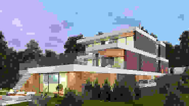 CASA CS1- Moradia em Cascais - Projeto de Arquitetura - exterior: Moradias  por Traçado Regulador. Lda,Moderno Madeira Acabamento em madeira
