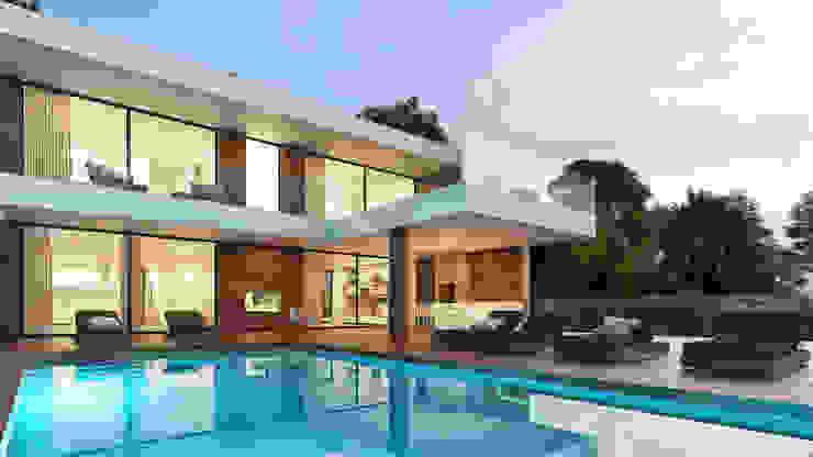 CASA CS1- Moradia em Cascais - Projeto de Arquitetura - exterior piscina: Moradias  por Traçado Regulador. Lda,Moderno Madeira Acabamento em madeira