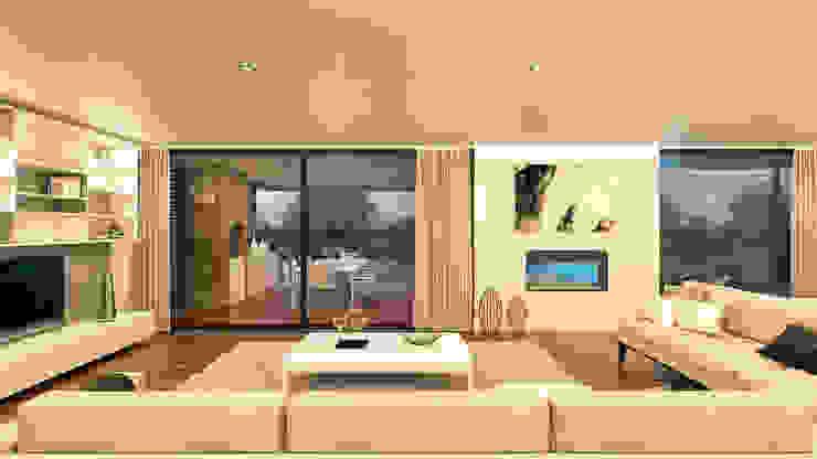 CASA CS1- Moradia em Cascais - Projeto de Arquitetura - sala Salas de estar modernas por Traçado Regulador. Lda Moderno Madeira Acabamento em madeira