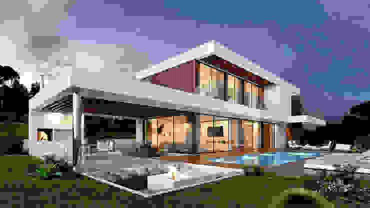 CASA PRG1 - Moradia em Loures- Projeto de Arquitetura - exterior piscina lareira Traçado Regulador. Lda Vilas Madeira Branco