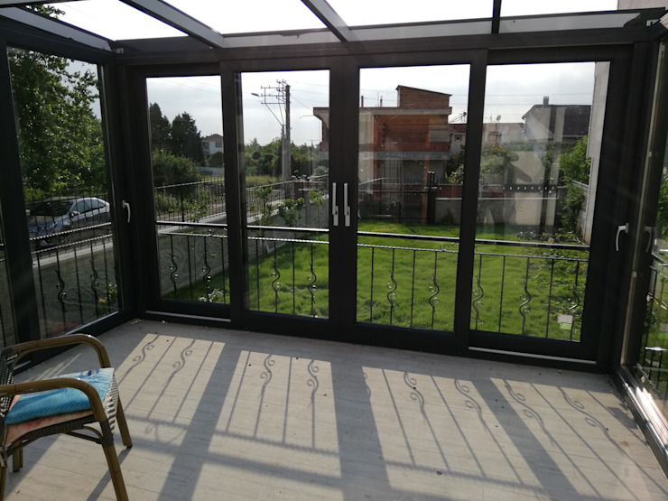 Yapısan Cephe Sistemleri Jardines de invierno modernos Aluminio/Cinc Gris