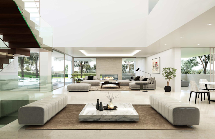 Living room by Otto Medem Arquitecto vanguardista en Madrid, Modern