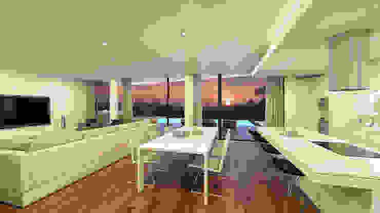 Traçado Regulador. Lda Modern dining room Wood White