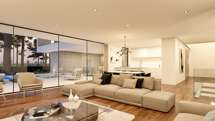 Traçado Regulador. Lda Living room Wood White