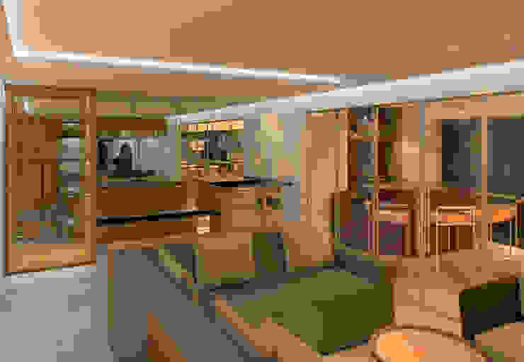 Salon moderne par Elaine Hormann Architecture -Sao Paulo - Hamburgo Moderne Bois d'ingénierie Transparent