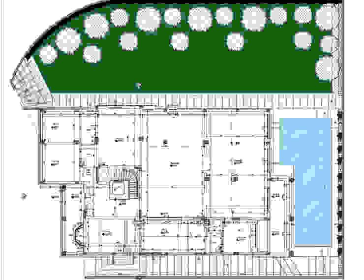 site plan:  مسبح حديقة تنفيذ smarthome, حداثي أسمنت