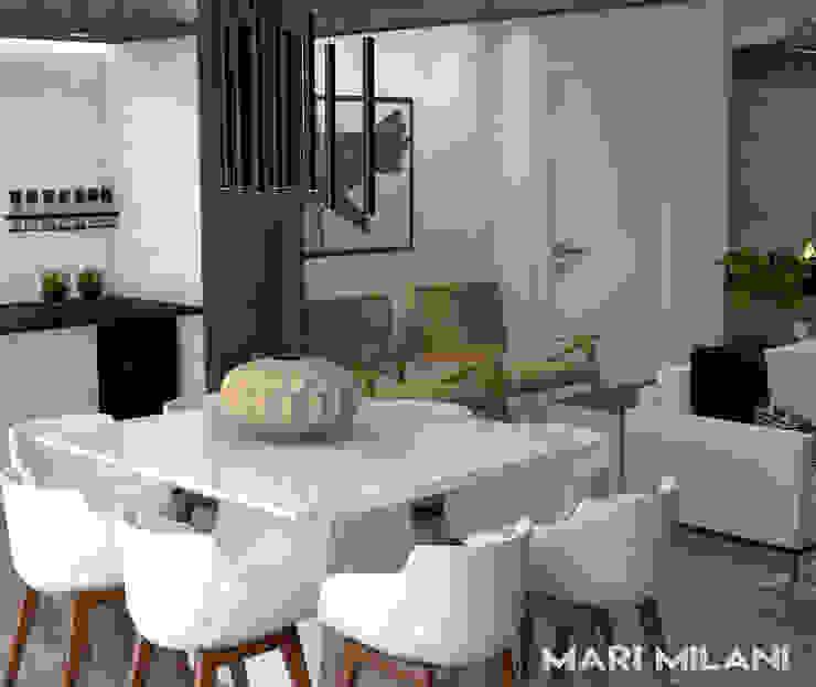 Sala de jantar integrada Mari Milani Arquitetura & Interiores Salas de jantar modernas