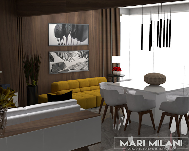 Sala de jantar no terraço Mari Milani Arquitetura & Interiores Salas de jantar modernas