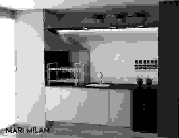 Terraço com churrasqueira Mari Milani Arquitetura & Interiores Varandas, alpendres e terraços modernos