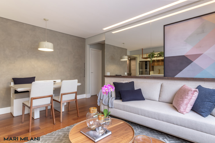 Apartamento pequeno Mooca Salas de estar modernas por Mari Milani Arquitetura & Interiores Moderno