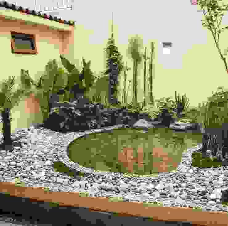 Jardín con estanque para peces. Cattleya jardinería JardínPlantas y flores