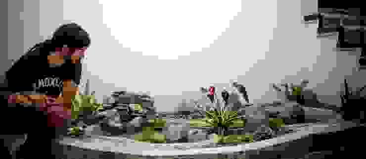 Poseta con cascada al interior de Juan Sebastián Jaramillo Lizarralde Tropical Concreto